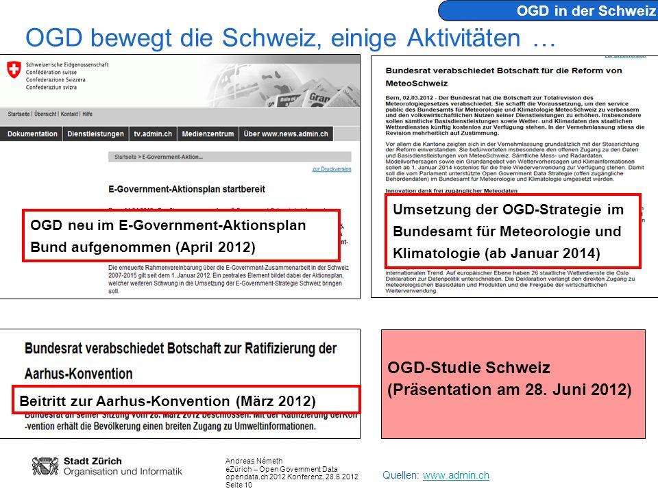 OGD bewegt die Schweiz, einige Aktivitäten …