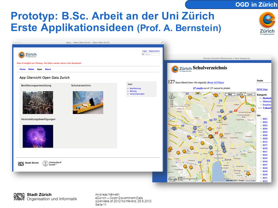 OGD in Zürich Prototyp: B.Sc. Arbeit an der Uni Zürich Erste Applikationsideen (Prof. A. Bernstein)