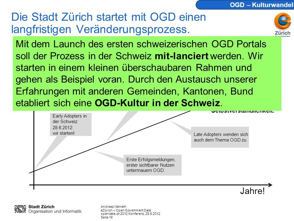OGD – Kulturwandel Die Stadt Zürich startet mit OGD einen langfristigen Veränderungsprozess.