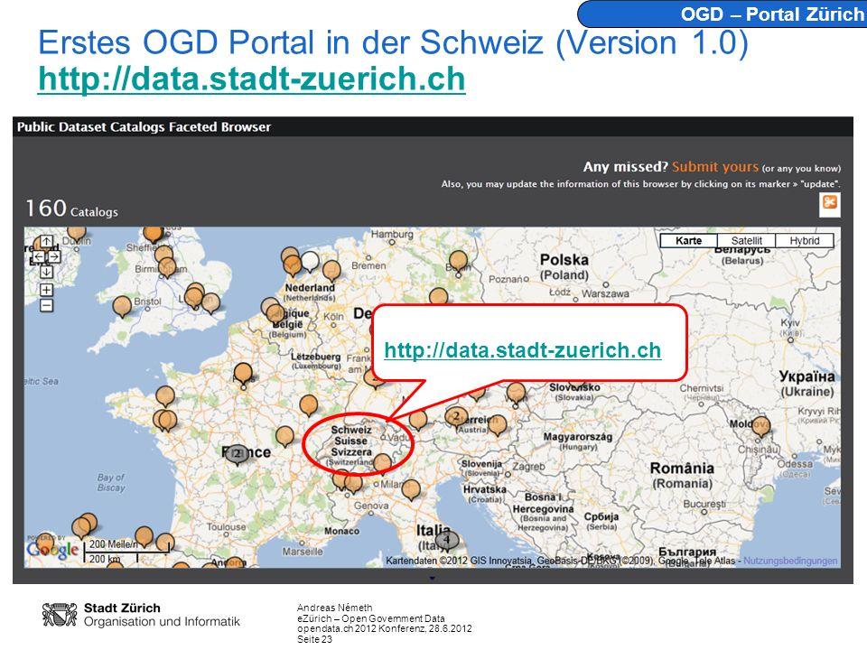 OGD – Portal Zürich Erstes OGD Portal in der Schweiz (Version 1.0) http://data.stadt-zuerich.ch.