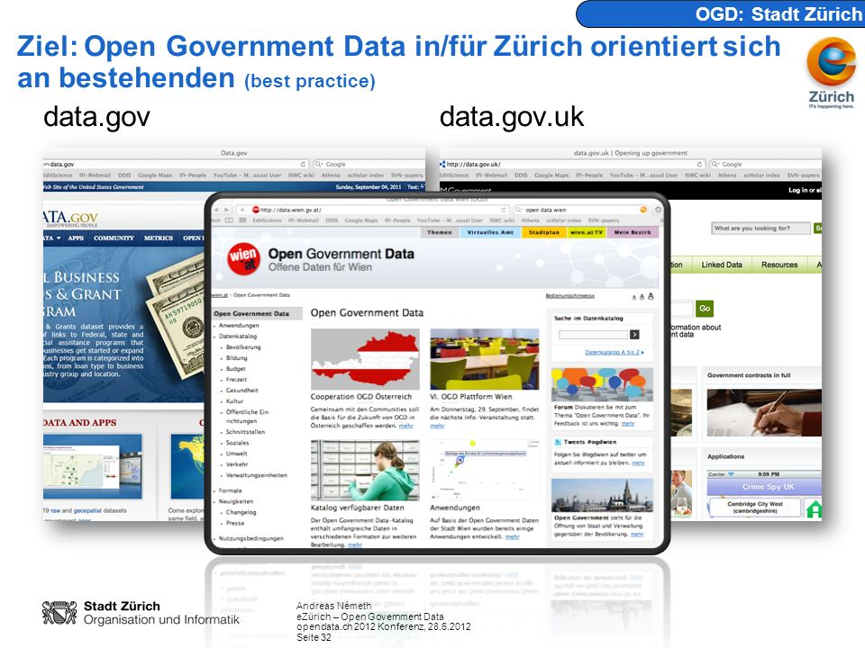 OGD: Stadt Zürich Ziel: Open Government Data in/für Zürich orientiert sich an bestehenden (best practice)
