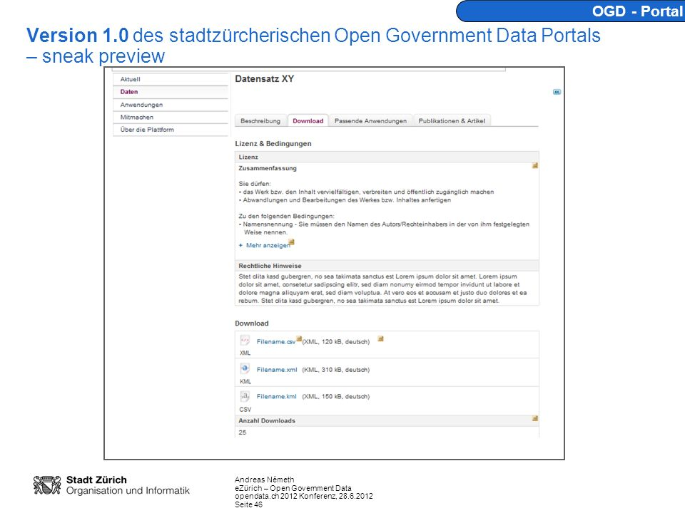 OGD - Portal Version 1.0 des stadtzürcherischen Open Government Data Portals – sneak preview