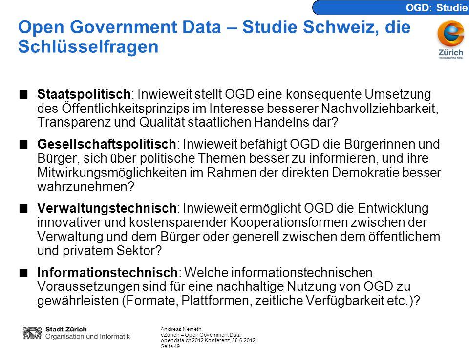 Open Government Data – Studie Schweiz, die Schlüsselfragen