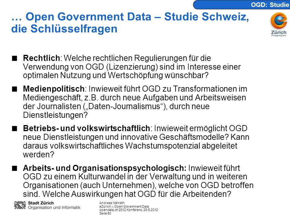 … Open Government Data – Studie Schweiz, die Schlüsselfragen