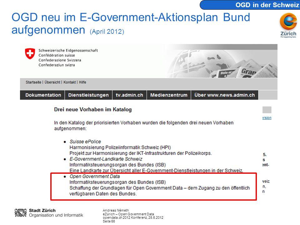OGD neu im E-Government-Aktionsplan Bund aufgenommen (April 2012)