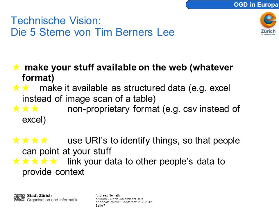 Technische Vision: Die 5 Sterne von Tim Berners Lee