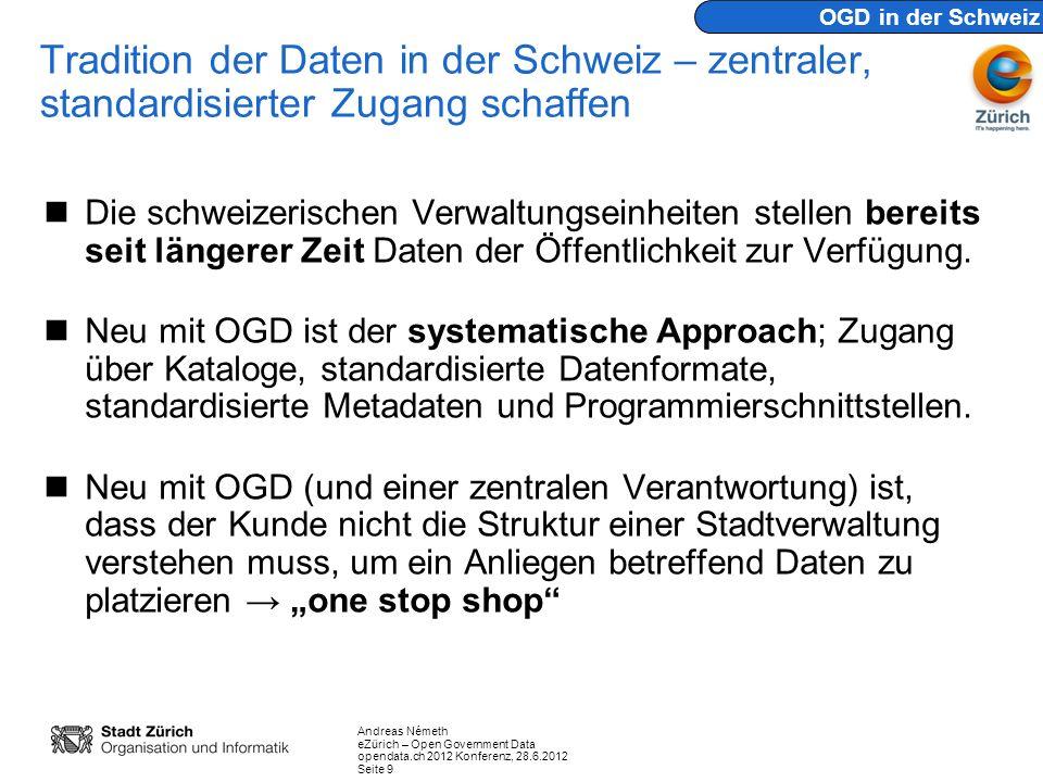 OGD in der Schweiz Tradition der Daten in der Schweiz – zentraler, standardisierter Zugang schaffen.