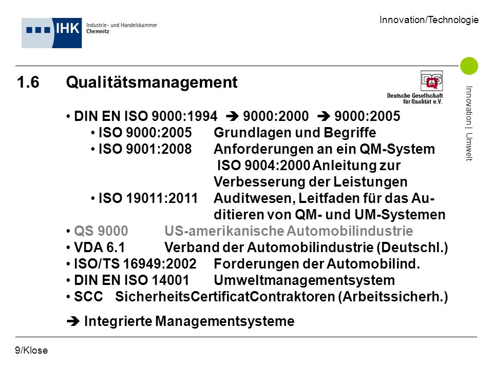 1.6 Qualitätsmanagement DIN EN ISO 9000:1994  9000:2000  9000:2005