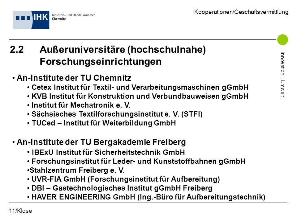2.2 Außeruniversitäre (hochschulnahe) Forschungseinrichtungen