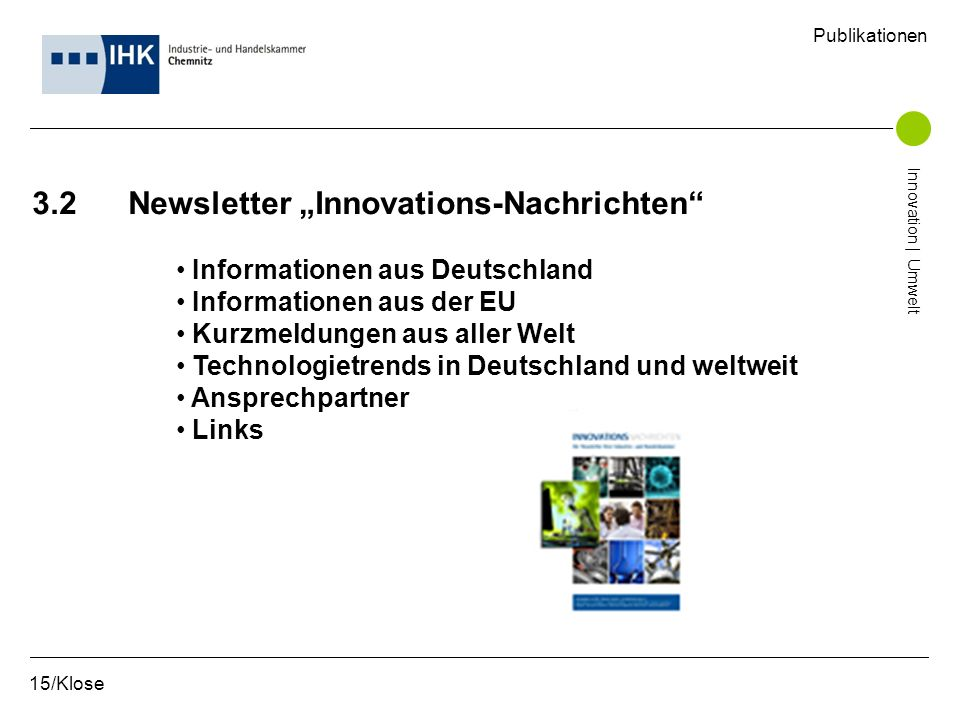 "3.2 Newsletter ""Innovations-Nachrichten"