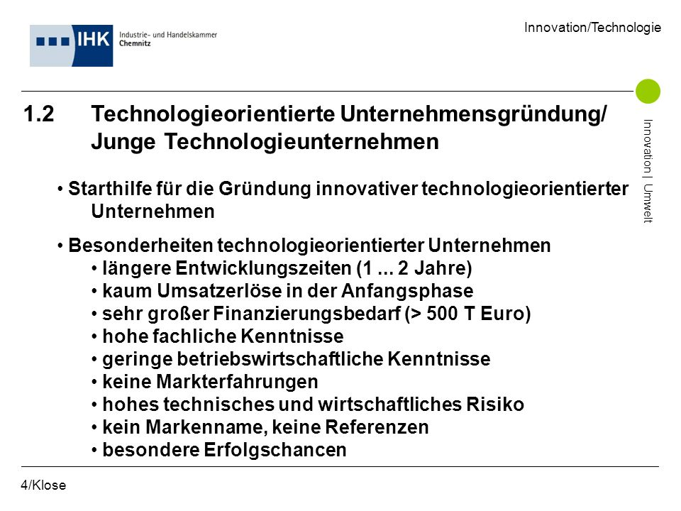 1.2 Technologieorientierte Unternehmensgründung/