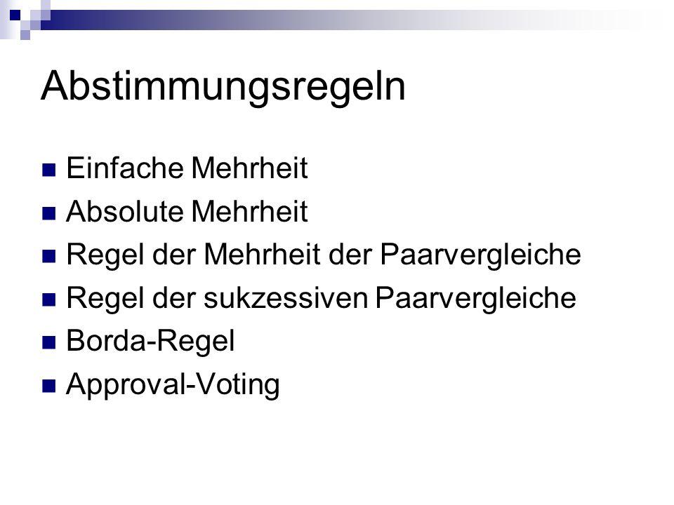 Abstimmungsregeln Einfache Mehrheit Absolute Mehrheit