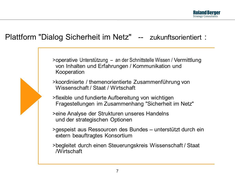 Plattform Dialog Sicherheit im Netz -- zukunftsorientiert :