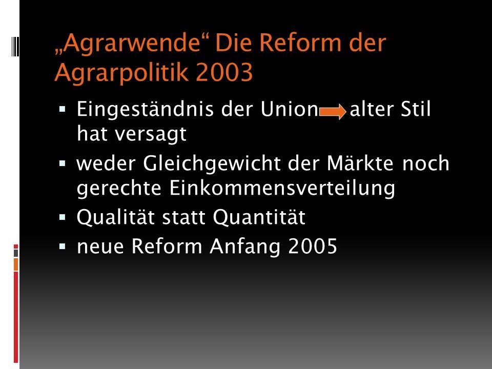 """""""Agrarwende Die Reform der Agrarpolitik 2003"""