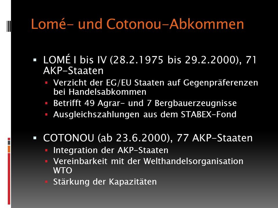 Lomé- und Cotonou-Abkommen