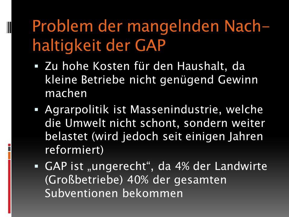 Problem der mangelnden Nach-haltigkeit der GAP
