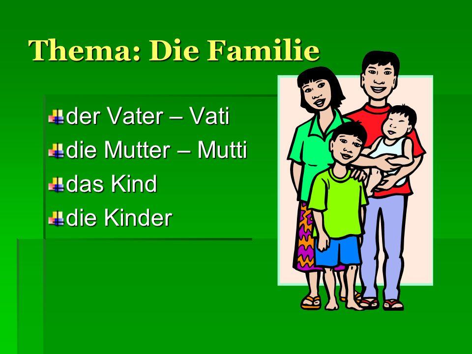 Thema: Die Familie der Vater – Vati die Mutter – Mutti das Kind