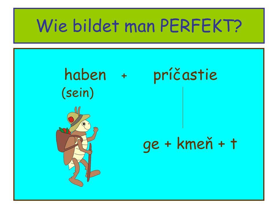 Wie bildet man PERFEKT haben + príčastie (sein) ge + kmeň + t