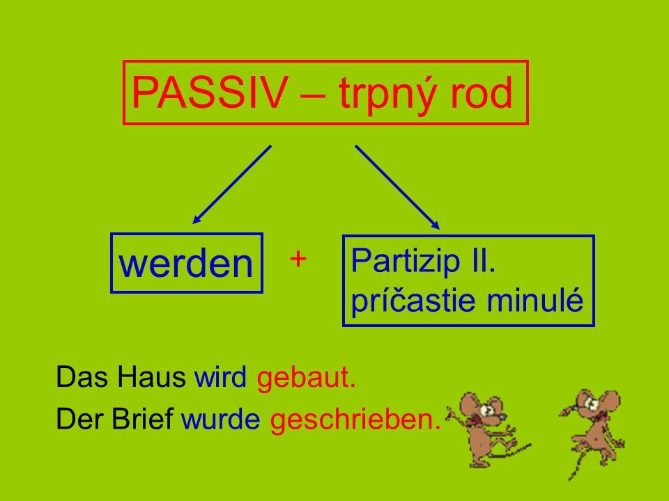 PASSIV – trpný rod werden + Partizip II. príčastie minulé