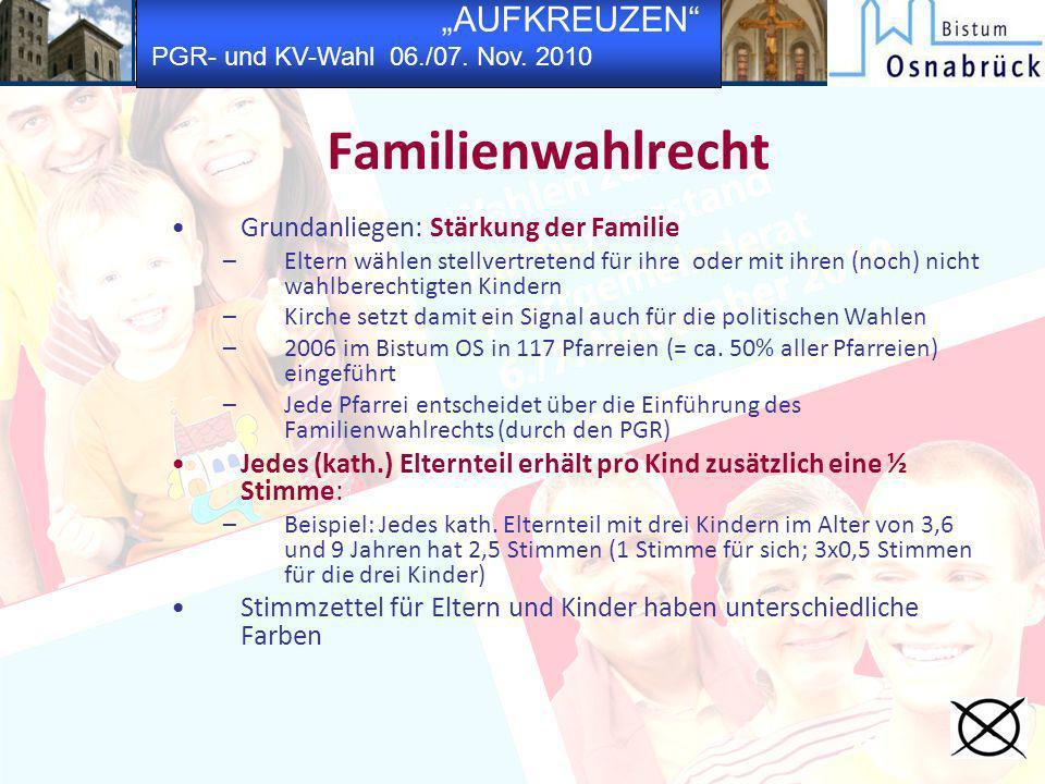 Familienwahlrecht Grundanliegen: Stärkung der Familie