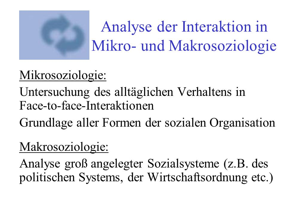 Analyse der Interaktion in Mikro- und Makrosoziologie