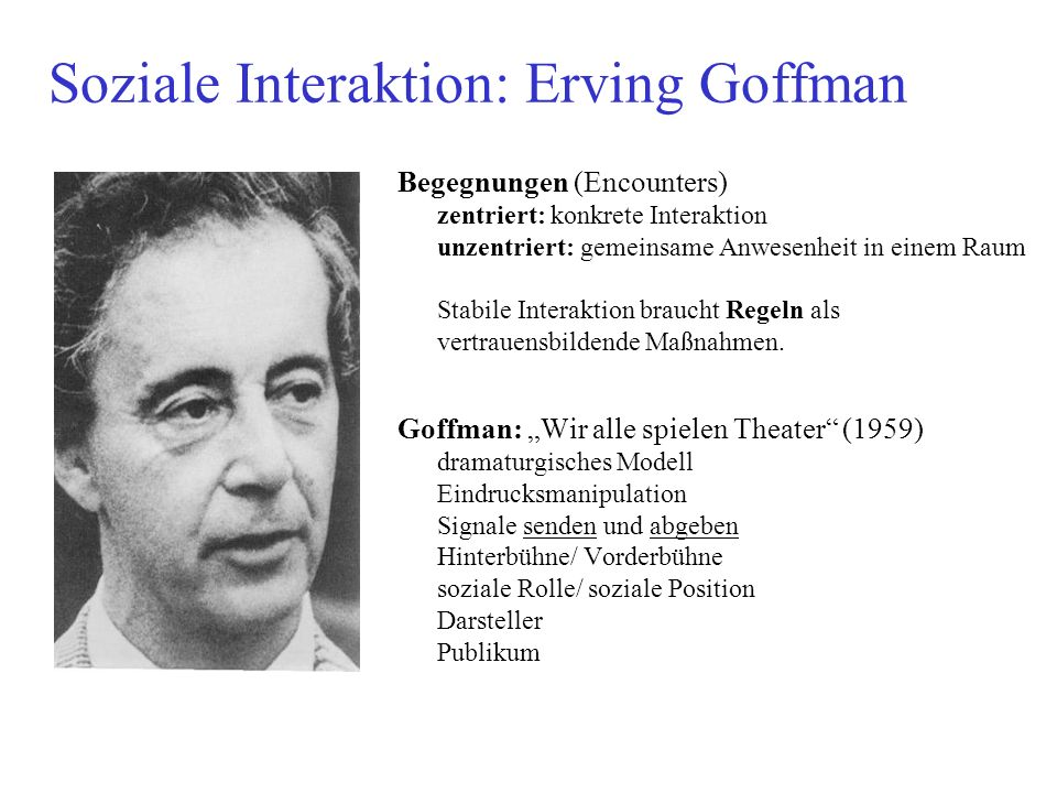 Soziale Interaktion: Erving Goffman