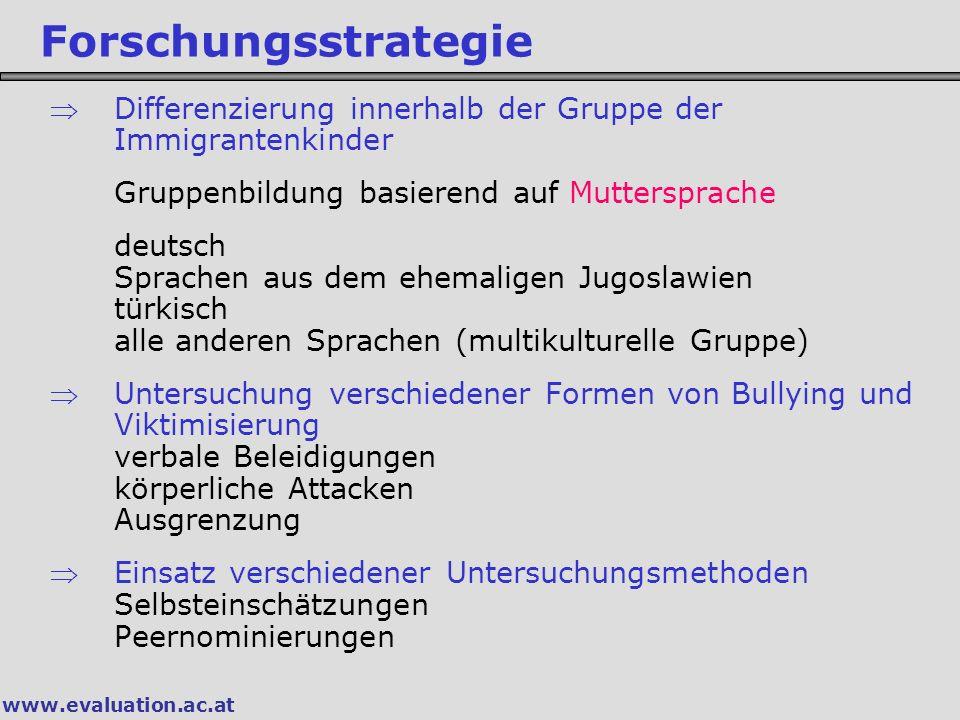 Forschungsstrategie Differenzierung innerhalb der Gruppe der Immigrantenkinder. Gruppenbildung basierend auf Muttersprache.