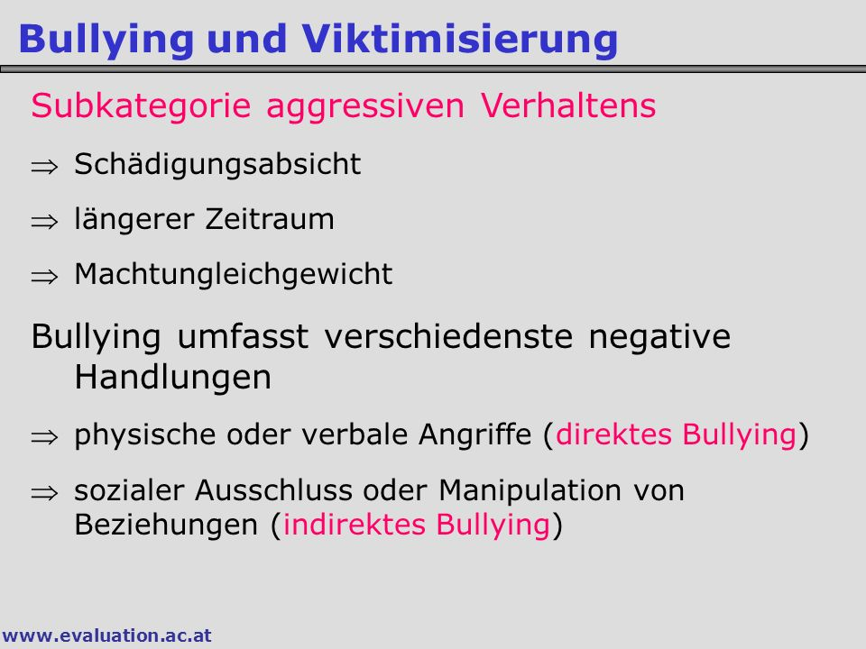 Bullying und Viktimisierung