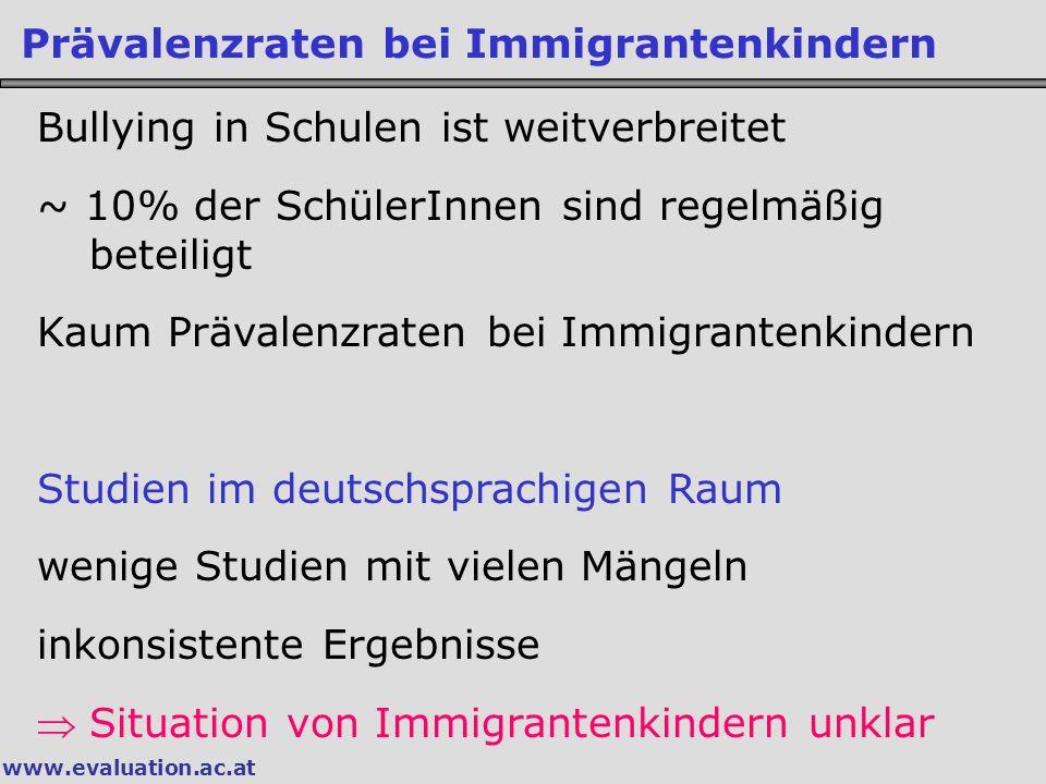 Prävalenzraten bei Immigrantenkindern