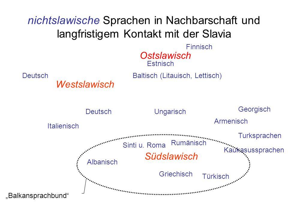 nichtslawische Sprachen in Nachbarschaft und langfristigem Kontakt mit der Slavia