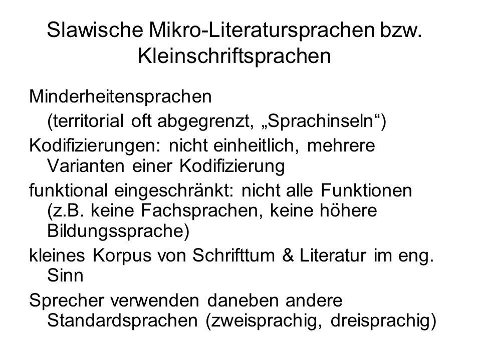 Slawische Mikro-Literatursprachen bzw. Kleinschriftsprachen