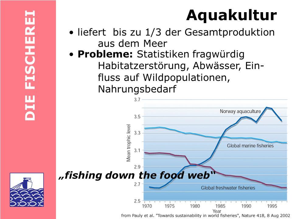 Aquakultur DIE FISCHEREI • liefert bis zu 1/3 der Gesamtproduktion