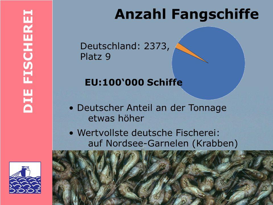 Anzahl Fangschiffe DIE FISCHEREI Deutschland: 2373, Platz 9