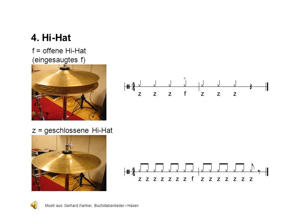 4. Hi-Hat f = offene Hi-Hat (eingesaugtes f) z = geschlossene Hi-Hat
