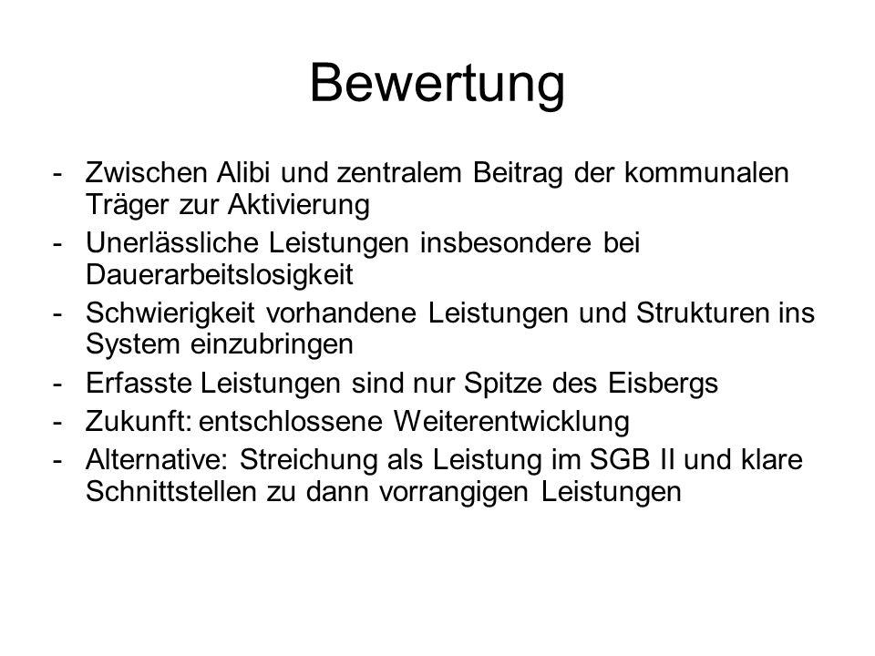 Bewertung Zwischen Alibi und zentralem Beitrag der kommunalen Träger zur Aktivierung.