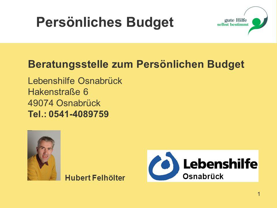Persönliches Budget Beratungsstelle zum Persönlichen Budget