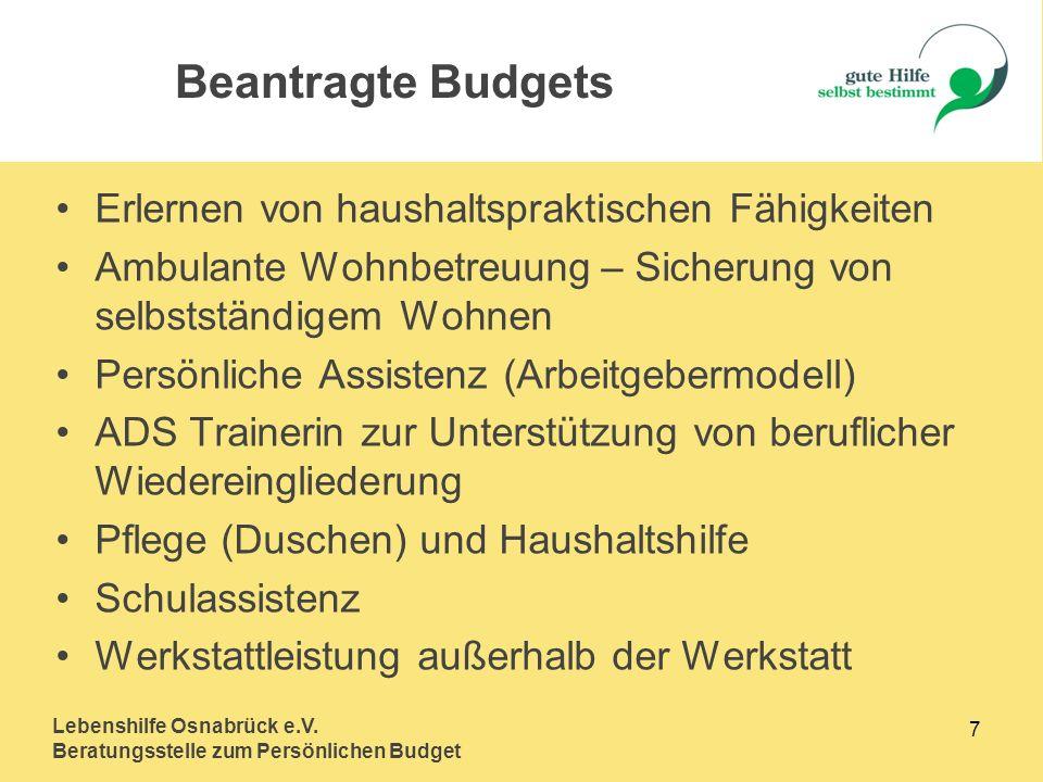 Beantragte Budgets Erlernen von haushaltspraktischen Fähigkeiten