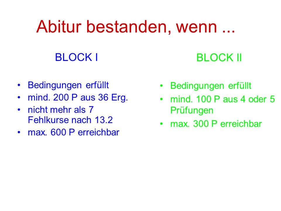 Abitur bestanden, wenn ... BLOCK I BLOCK II Bedingungen erfüllt