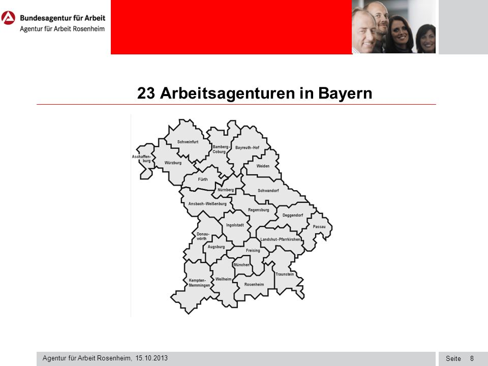 23 Arbeitsagenturen in Bayern