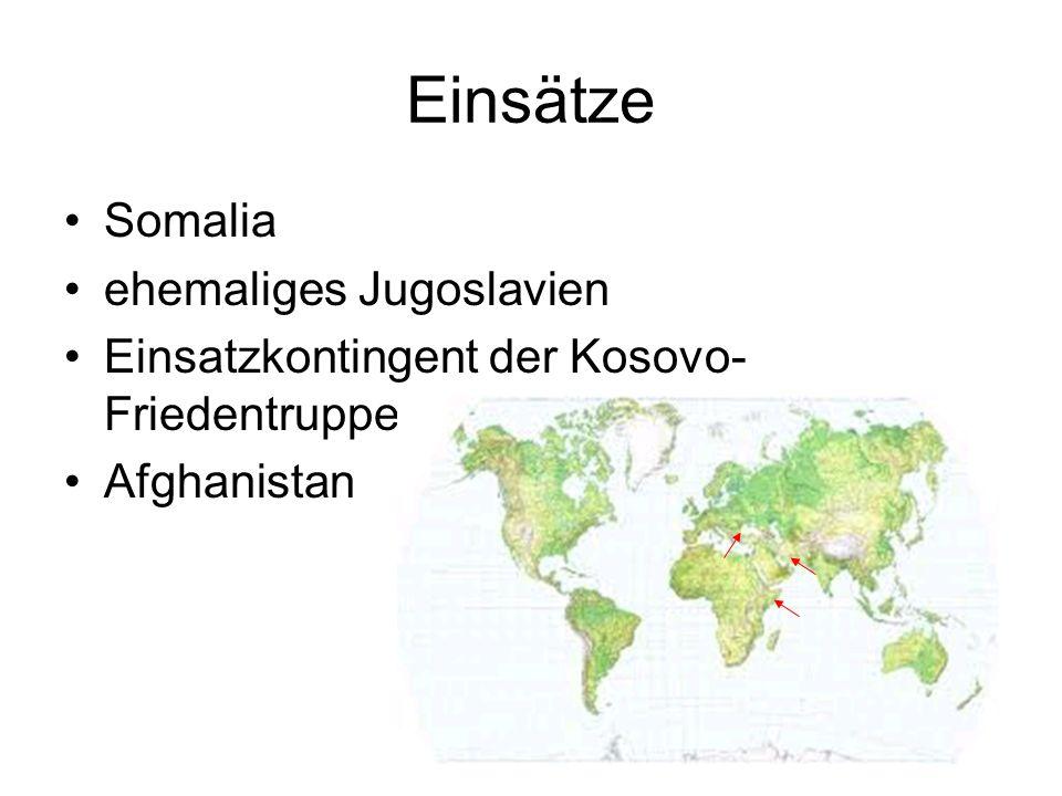 Einsätze Somalia ehemaliges Jugoslavien
