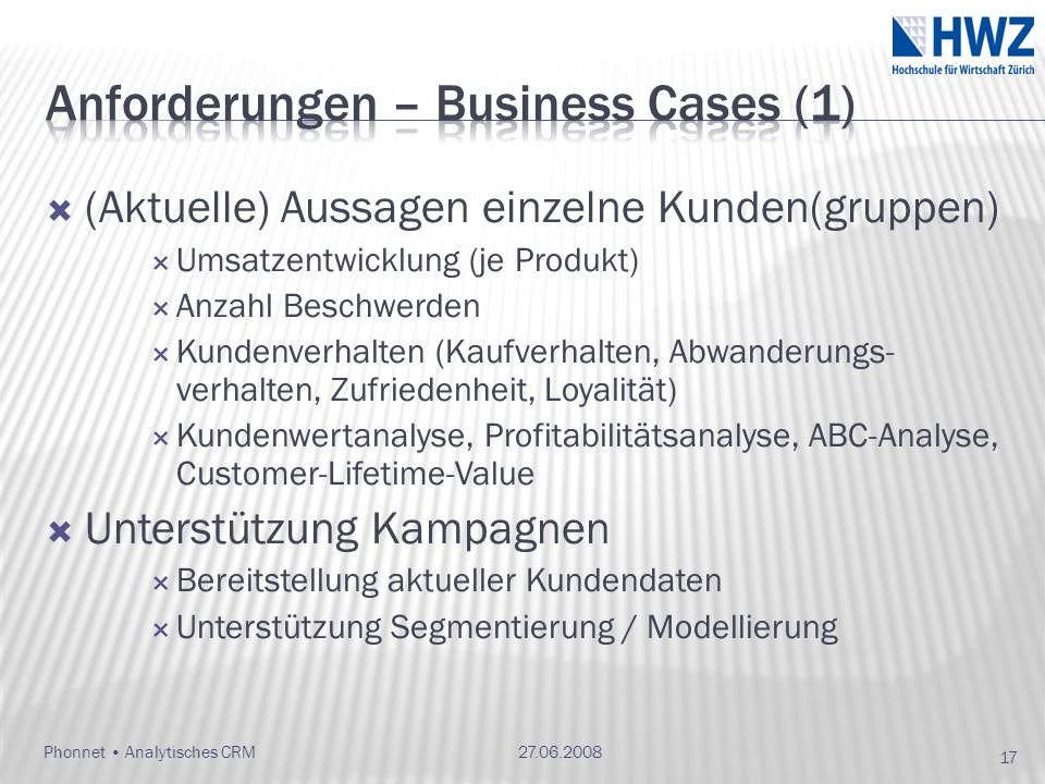 Anforderungen – Business Cases (1)