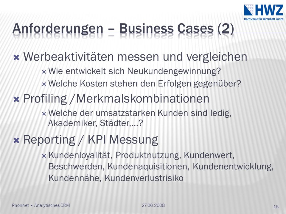 Anforderungen – Business Cases (2)