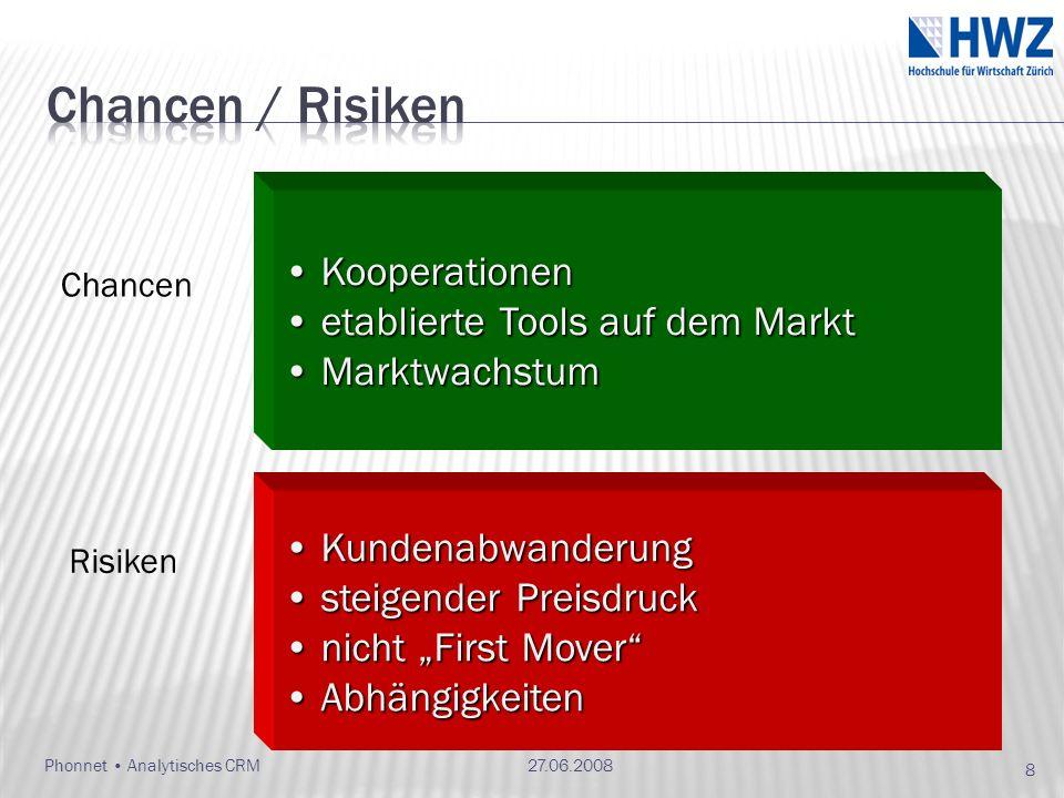 Chancen / Risiken Kooperationen etablierte Tools auf dem Markt