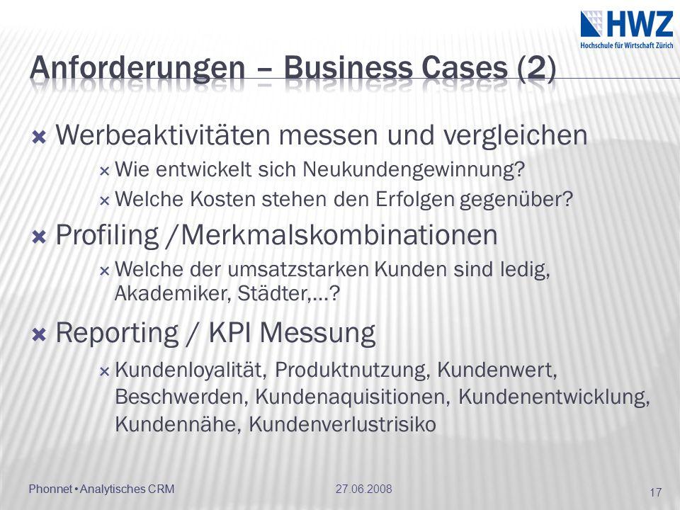 Anforderungen – Business Cases (2)