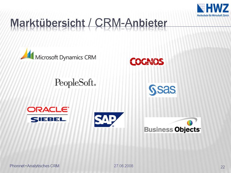 Marktübersicht / CRM-Anbieter