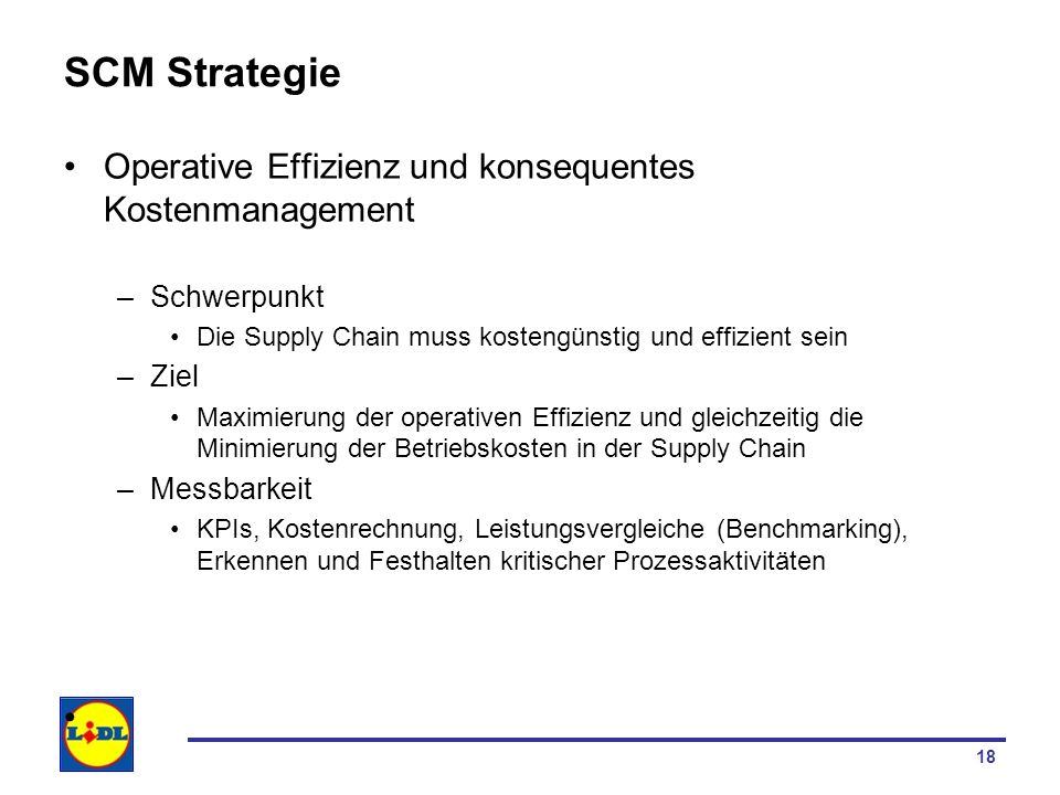 SCM Strategie Operative Effizienz und konsequentes Kostenmanagement