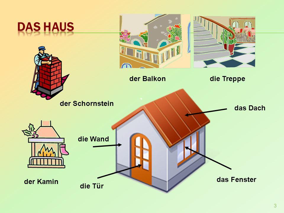 Das Haus der Balkon die Treppe der Schornstein das Dach die Wand