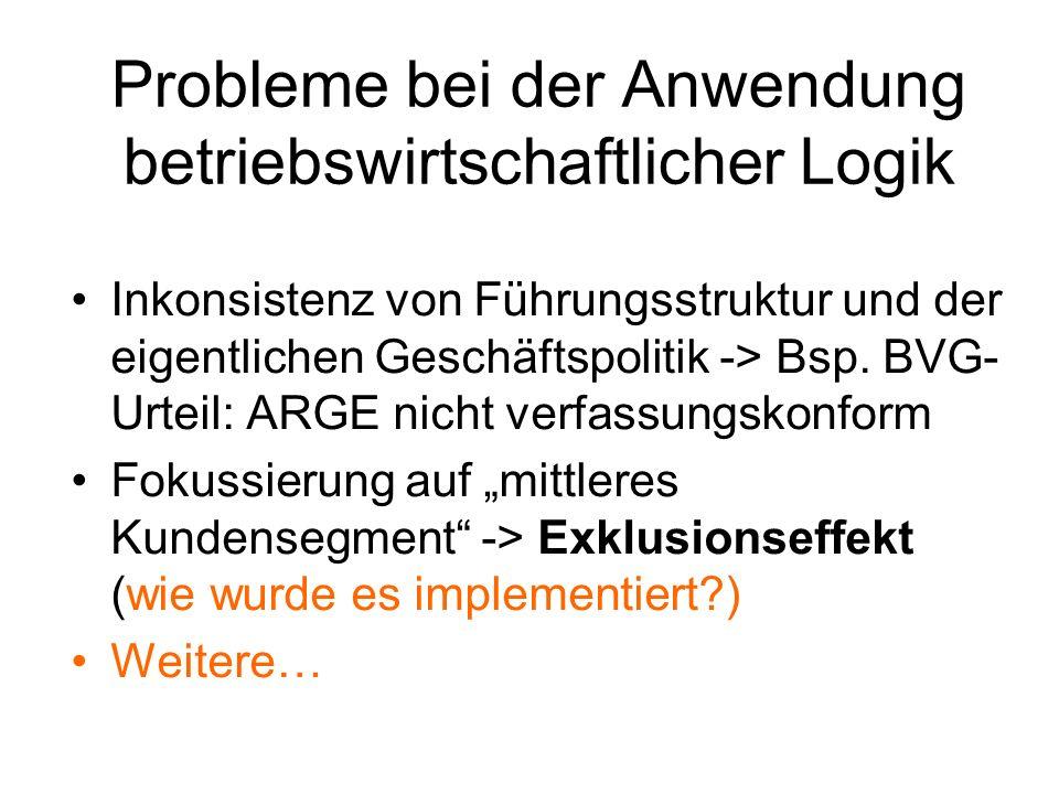 Probleme bei der Anwendung betriebswirtschaftlicher Logik
