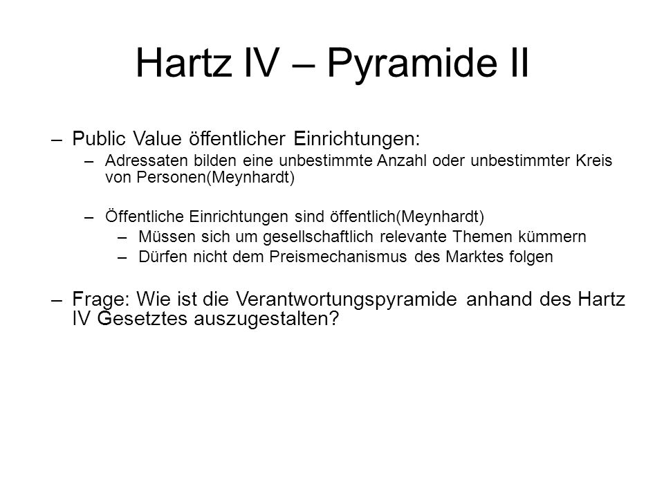 Hartz IV – Pyramide II Public Value öffentlicher Einrichtungen:
