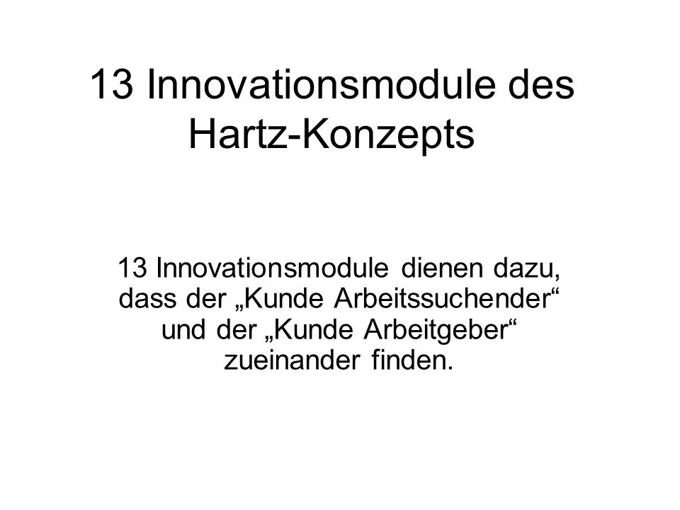 13 Innovationsmodule des Hartz-Konzepts